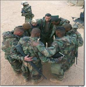 Soldiers Praying in Circle