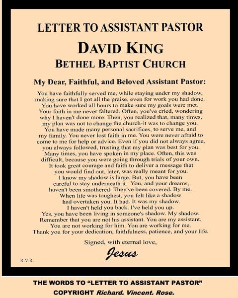 Pastor appreciation letter sle offering invitation for church pastor appreciation letter richard vincent story letter to assistant spiritdancerdesigns Gallery