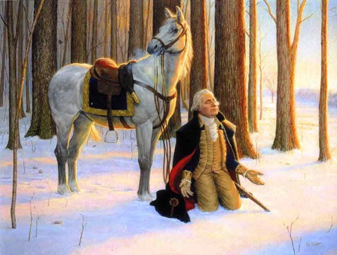 washington in snow praying