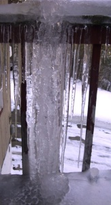 This is from the front porch railing ... We don't call it an icicle ... we call it a post!