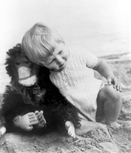 Jane goodall wih toy chimp