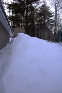 I always have a picture of how high the snow is, relative to the roof of the garage. Look at this!
